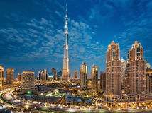 Dubai, UAE, December 31, 2013 Burj Khalifa at the magical blue hour stock photography