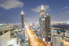 DUBAI, UAE - DECEMBER 11, 2016: Downrtown skyline along Sheikh Z Stock Photography