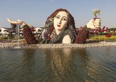 DUBAI UAE - DECEMBER 23, 2014: Fotoet av blomman parkerar (den Dubai mirakelträdgården) Royaltyfri Fotografi