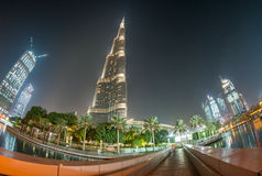 DUBAI, UAE - DECEMBER 4, 2016: Nigh lights of Burj Khalifa. Duba Royalty Free Stock Photo