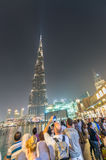 DUBAI, UAE - DECEMBER 4, 2016: Nigh lights of Burj Khalifa. Duba Royalty Free Stock Image