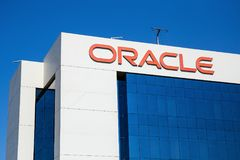 Sign of oracale on the office building in Dubai Royalty Free Stock Image