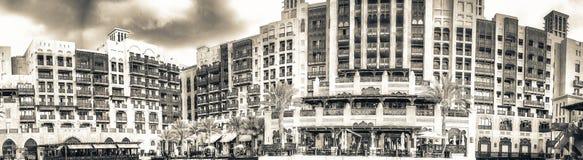 DUBAI UAE - DECEMBER 11, 2016: Sikt av den Madinat Jumeirah buildien Arkivbilder