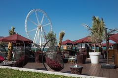 Street Cafe on New public beach - Jumeirah Beach Residence JBR i Royalty Free Stock Images