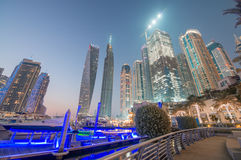 DUBAI, UAE - DECEMBER 10, 2016: Sunset view of Dubai Marina skyl Stock Photos
