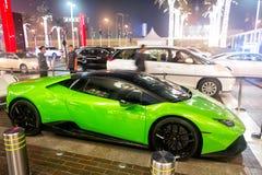 Supercar Lamborghini Huracan greeen color. DUBAI, UAE - december 23, 2017: Supercar Lamborghini Huracan greeen color parked next to Dubai mall. Lamborghini Royalty Free Stock Image