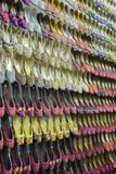 Traditional shoes on the shelf in the store in Dubai. DUBAI, UAE - DECEMBER 4, 2017: Traditional shoes on the shelf in the store Royalty Free Stock Image