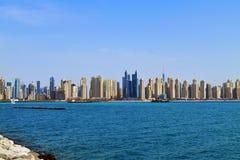 Dubai UAE Den Dubai marina är ett berömd trendig område och marina Royaltyfri Foto