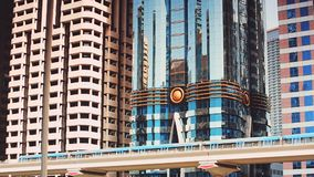 DUBAI, UAE - Detail of metro line and modern buildings stock video footage