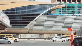 DUBAI, UAE - Detail of metro station and moving cars stock video
