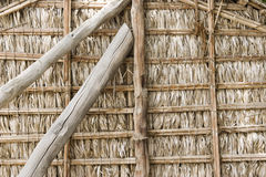 Dubai UAE Detail of wood thatch houses on display at Heritage Village in Bur Dubai Royalty Free Stock Images