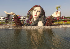 DUBAI, UAE - 23. DEZEMBER 2014: Foto des Blumen-Parks (Dubai-Wunder-Garten) Lizenzfreie Stockfotografie