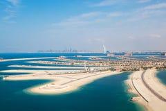 Dubai, UAE Die Palmeninsel von oben Lizenzfreie Stockfotos