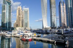 Dubai UAE, Dubai Marina Promenade, November 2015 Arkivfoto