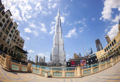 DUBAI, UAE - FEBRUARY 24 - Burj Khalifa, the highest building in the world, 829.8 m tall. Picture taken on February 24, 2015 Royalty Free Stock Photography