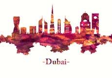 Dubai UAE horisont i rött royaltyfri illustrationer