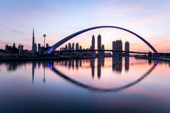 Dubai, UAE - Jan 27, 2017: Sunrise over Dubai Downtown. Stock Images