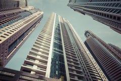 DUBAI, UAE - 18. JANUAR 2017: Dubai-Skyline zur Sommerzeit Stockfoto