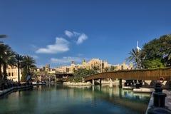 DUBAI UAE - januari 05,2018:: Panoramautsikt av Madinaten Jumei Arkivfoto