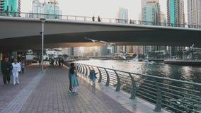 Dubai, UAE - January 18, 2018: happy arab children on city embankment feeding sea gulls which flying over water in Dubai stock footage