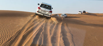 DUBAI, UAE-JANUARY 20: Jeep safari, 20, 2014 in Dubai, UAE. Jeep Royalty Free Stock Images