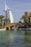 DUBAI, UAE - JANUARY 18, 2017 : Madinat Jumeirah with in the bac Royalty Free Stock Photo