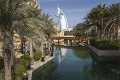 DUBAI, UAE - JANUARY 18, 2017 : Madinat Jumeirah with in the bac Stock Photography