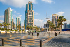 DUBAI, UAE-JANUARY 16: Skyscrapers in the city center on January Royalty Free Stock Photo