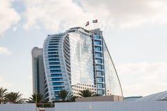 DUBAI UAE-JANUARY 15: Skyskrapor i centret på Januari Arkivbild