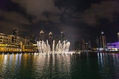 DUBAI UAE-JANUARY 16: Skyskrapor i centret på Januari Royaltyfria Foton