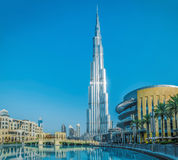 DUBAI, UAE - JULY 20: Burj Khalifa on July 20, 2015 in Dubai, UA. Burj Khalifa is a tallest building in the world Royalty Free Stock Photos
