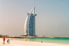 DUBAI, UAE - JULY 2008: The grand sail shaped Burj al Arab Hotel Royalty Free Stock Images