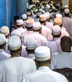 Dubai, UAE - July 16, 2016: Muslim men leaving the mosque. Royalty Free Stock Image