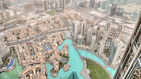Dubai, UAE - June 2, 2013: View on Dubai from the highest tower in the world, Burj Khalifa - dubai under desert dust royalty free stock photography