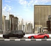Dubai, UAE - 18. März 2016: Eine Ansicht von Gebäuden und Wolkenkratzer entlang Dubai Marina Walk während des Nachmittages handel Stockfoto