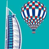 Dubai, UAE - 22. März 2016: vector Illustration von Hotel Burj Al Arab und von Luftballon Lizenzfreie Stockfotos