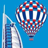 Dubai, UAE - 22. März 2016: vector Illustration von Hotel Burj Al Arab und von Luftballon Lizenzfreies Stockfoto