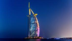 Dubai UAE - Maj 31, 2013: Det Burj El arabhotellet Arkivfoto