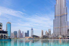DUBAI, UAE - MARCH 29, 2017: The fountain in front of Burj Khalifa.  Stock Photography