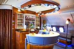 Emirates Airbus A380. DUBAI, UAE - MARCH 31, 2015: interior of Emirates Airbus A380. Emirates is one of two flag carriers of the United Arab Emirates along with royalty free stock images