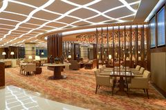 Emirates first class lounge. DUBAI, UAE - MARCH 31, 2015: interior of Emirates first class lounge. Emirates is the largest airline in the Middle East. It is an Stock Images