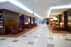 Emirates first class lounge. DUBAI, UAE - MARCH 31, 2015: interior of Emirates first class lounge. Emirates is the largest airline in the Middle East. It is an Stock Photos