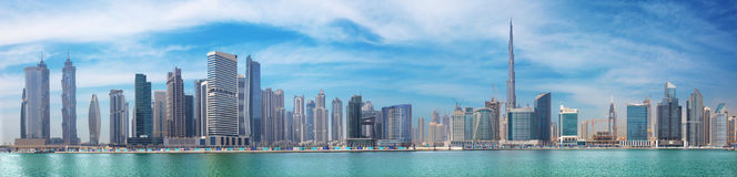 DUBAI, UAE - MARCH 29, 2017: The new Canal and Burj Khalifa tower in the background Royalty Free Stock Images
