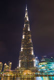 DUBAI, UAE - MARCH 24, 2017: The nightly Burj Khalifa and the fountain Stock Photos