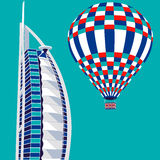 Dubai, UAE - March 22, 2016: vector illustration of Burj Al Arab hotel and air balloon. Burj Al Arab is UAE landmark, and one of the world's most luxurious Royalty Free Stock Photos