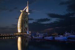 Dubai, UAE - March, 03, 2017: View of the luxury Burj Al Arab, the most exclusive hotel of the world, with seven stars at night royalty free stock photography