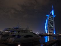 Dubai, UAE - March, 03, 2017: View of the luxury Burj Al Arab, the most exclusive hotel of the world, with seven stars at night stock photography