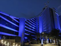 Dubai, UAE - March, 03, 2017: View of the luxury Jumeirah beach hotel an exclusive hotel at night stock image