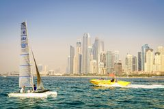 Sailing in Dubai royalty free stock images