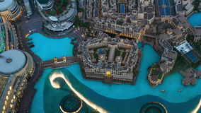 DUBAI, UAE - MAY 2017: Aerial timelapse The Dubai fountain water-light show near Burj Khalifa in the evening stock video